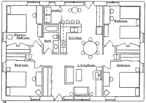 Farmhouse plans 4 bedroom house plans for Best 4 bedroom house plans